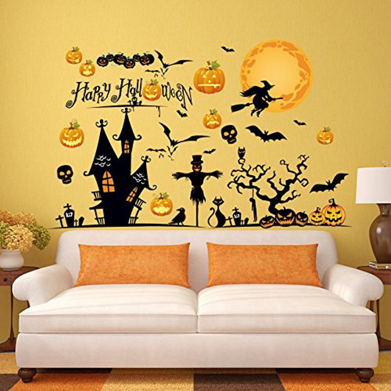 Brandream Halloween Wall Stickers Halloween Witches Pumpkin Ghost ...