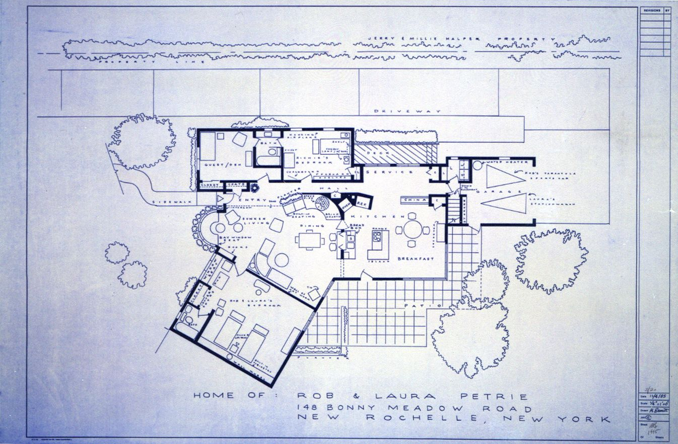 Petries house floor plan from the dick van dyke show 1346883 dick van dyke show blue print of rob and laura petrie house malvernweather Choice Image