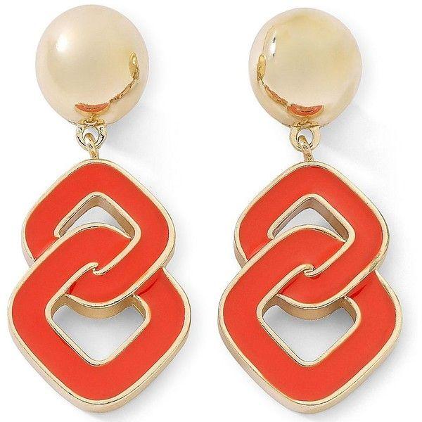 Liz Claiborne Orange Goldtone Clip-On Dangle Earrings ($18) ❤ liked on Polyvore