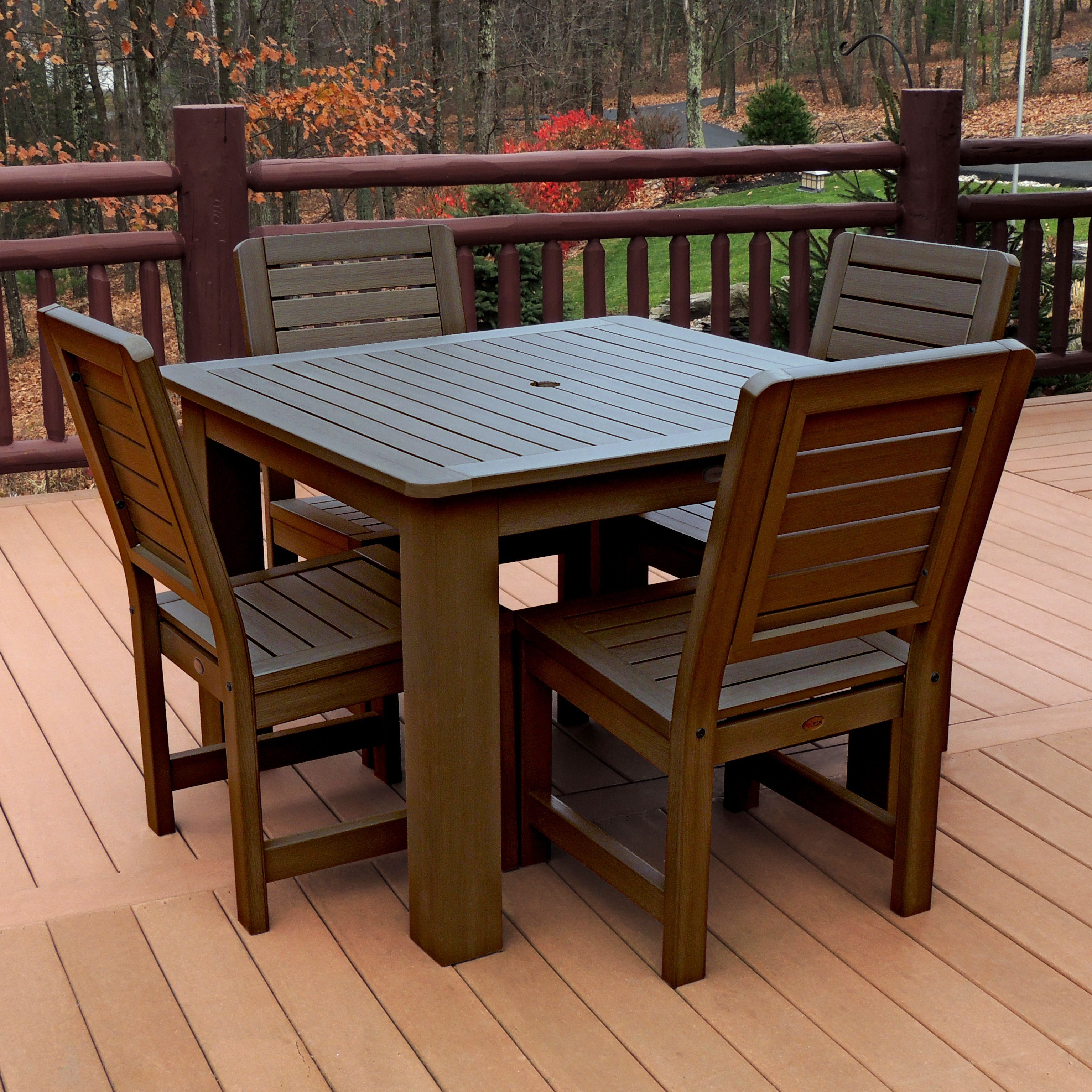 Highwood Eco Friendly Synthetic Wood Weatherly 5 Piece Square Dining Set (Weathered