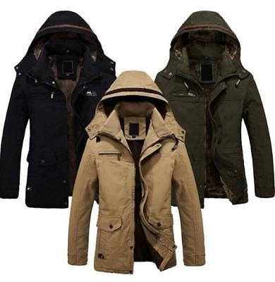 4e71c20e7 Mens Military Parka Winter Jacket Warm Fur lined Outerwear Long ...