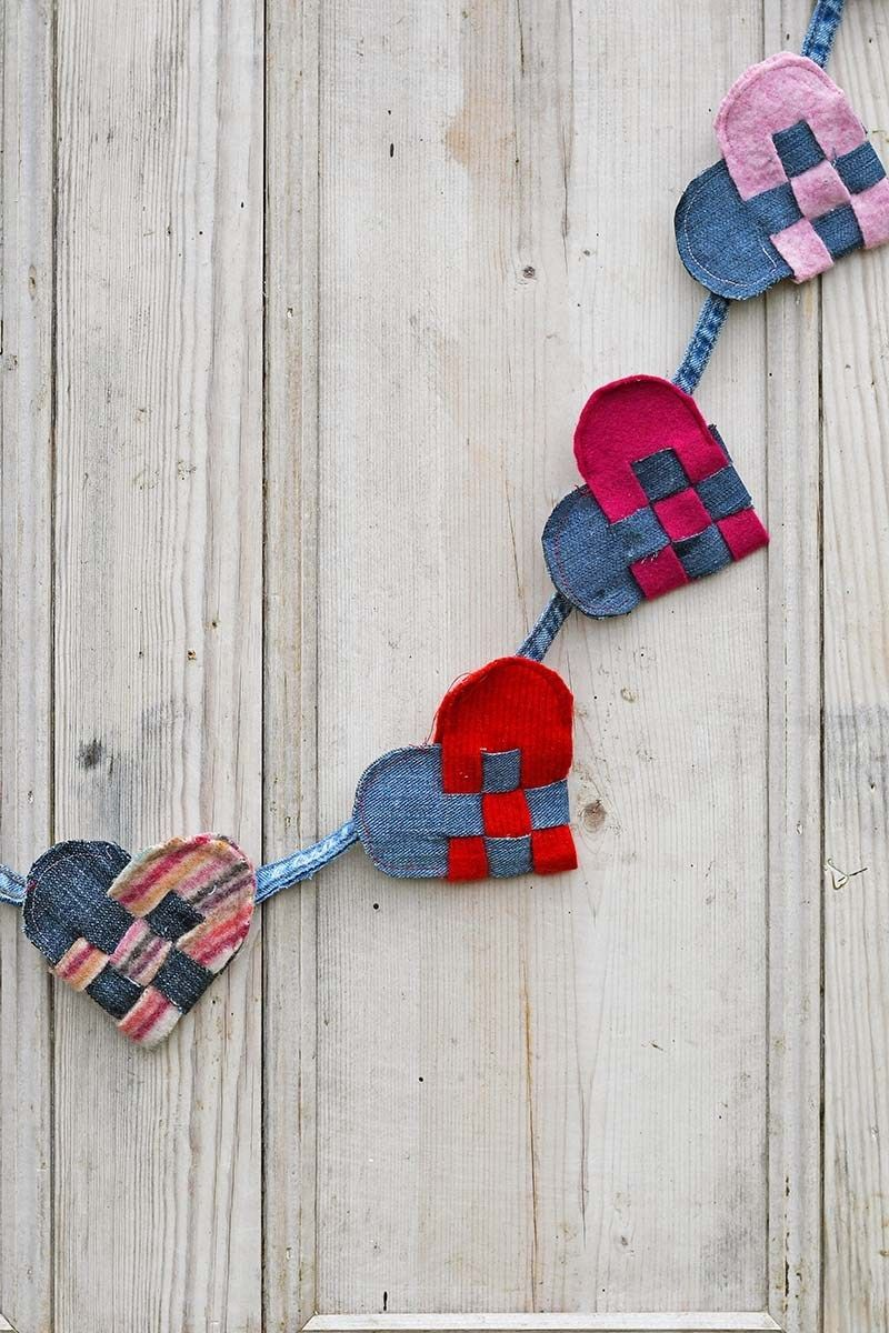 Sewing tutorial Upcycled fabric woven heart garland  Sewing Sewing is not just for sewing clothes accessories come to life with sewing Bags wallets flowers what else go t...