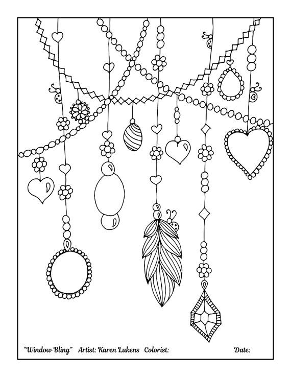 Window Bling 1 Adult Coloring Book Page Printable Instant Download