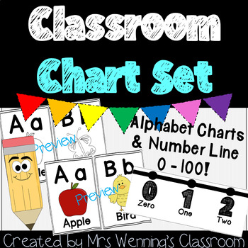 Alphabet Chart Number Line Pack By Mrs Wenning S Classroom Tpt Number Line Alphabet Charts Survival Kit For Teachers