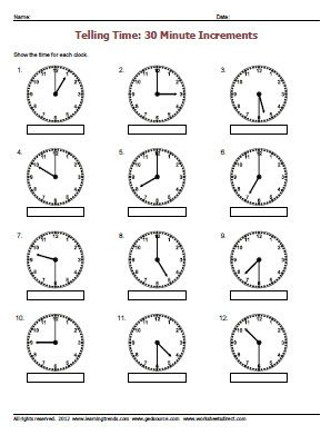 Printables Telling Time To The Hour And Half Hour Worksheets half hour worksheets versaldobip telling time to the davezan