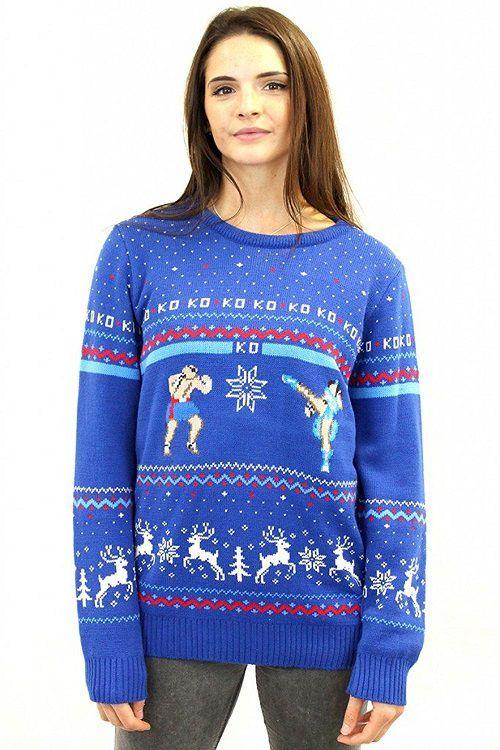 Street Fighter Sagat Vs Chun Li Ugly Christmas Sweater Geek Stuff