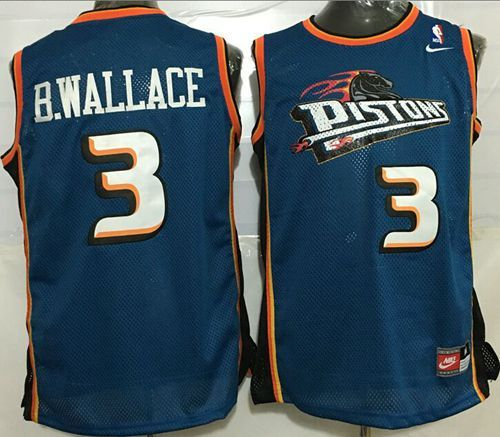f88e27659 Pistons  3 Ben Wallace Blue Throwback Stitched NBA Jersey