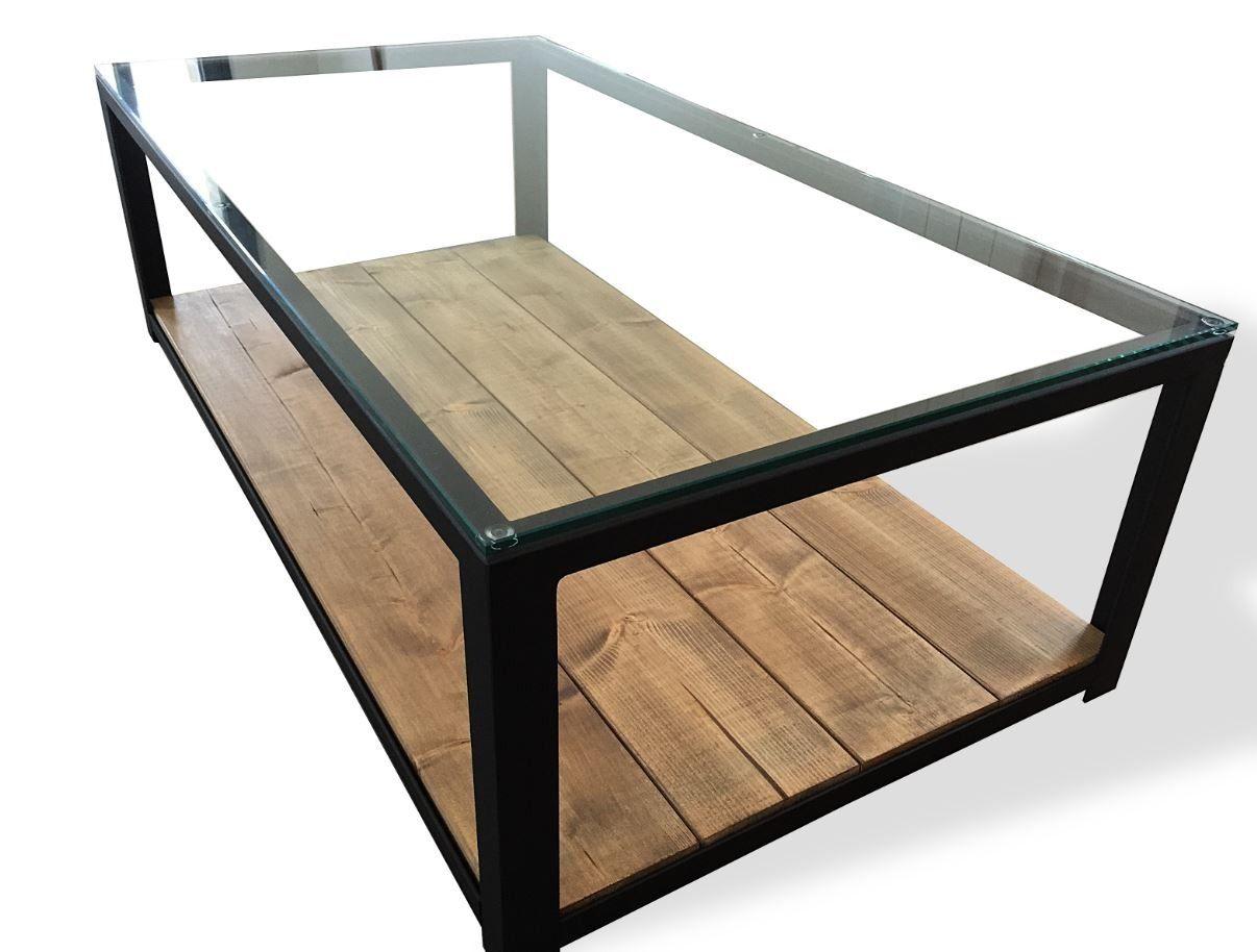 Table Basse En Acier Bois Et Verre Table Basse Acier Table Basse Table Basse Bois