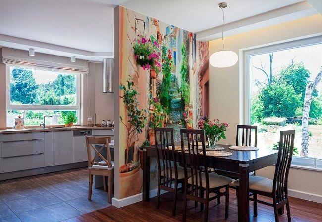 3-perete loc de luat masa bucatarie decorat cu fototapet cu straduta ingusta italiana