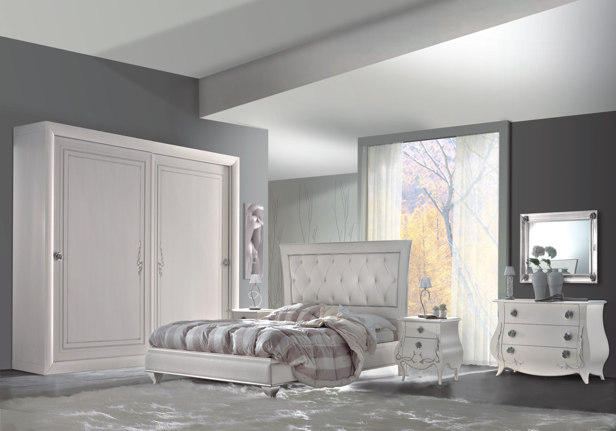 camera da letto bianco a pennello e foglia argento, linee bombate ...