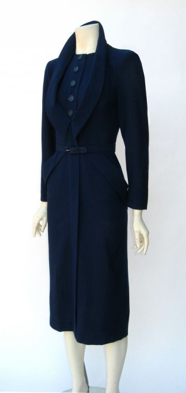 vintage 1940s dorothy o 39 hara navy blue wool wiggle dress. Black Bedroom Furniture Sets. Home Design Ideas
