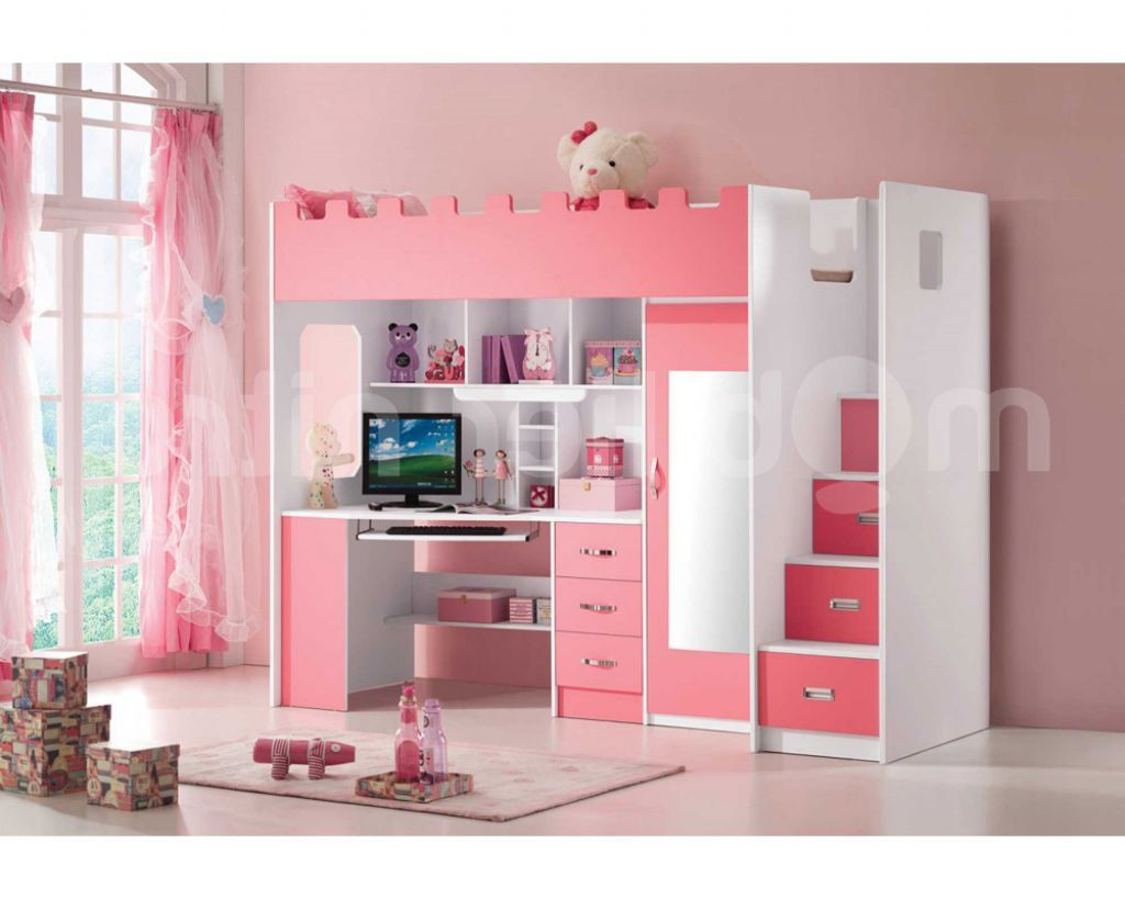 So Extraordinary Full Pink Loft Bed With Desk Closet And Stairs For ...