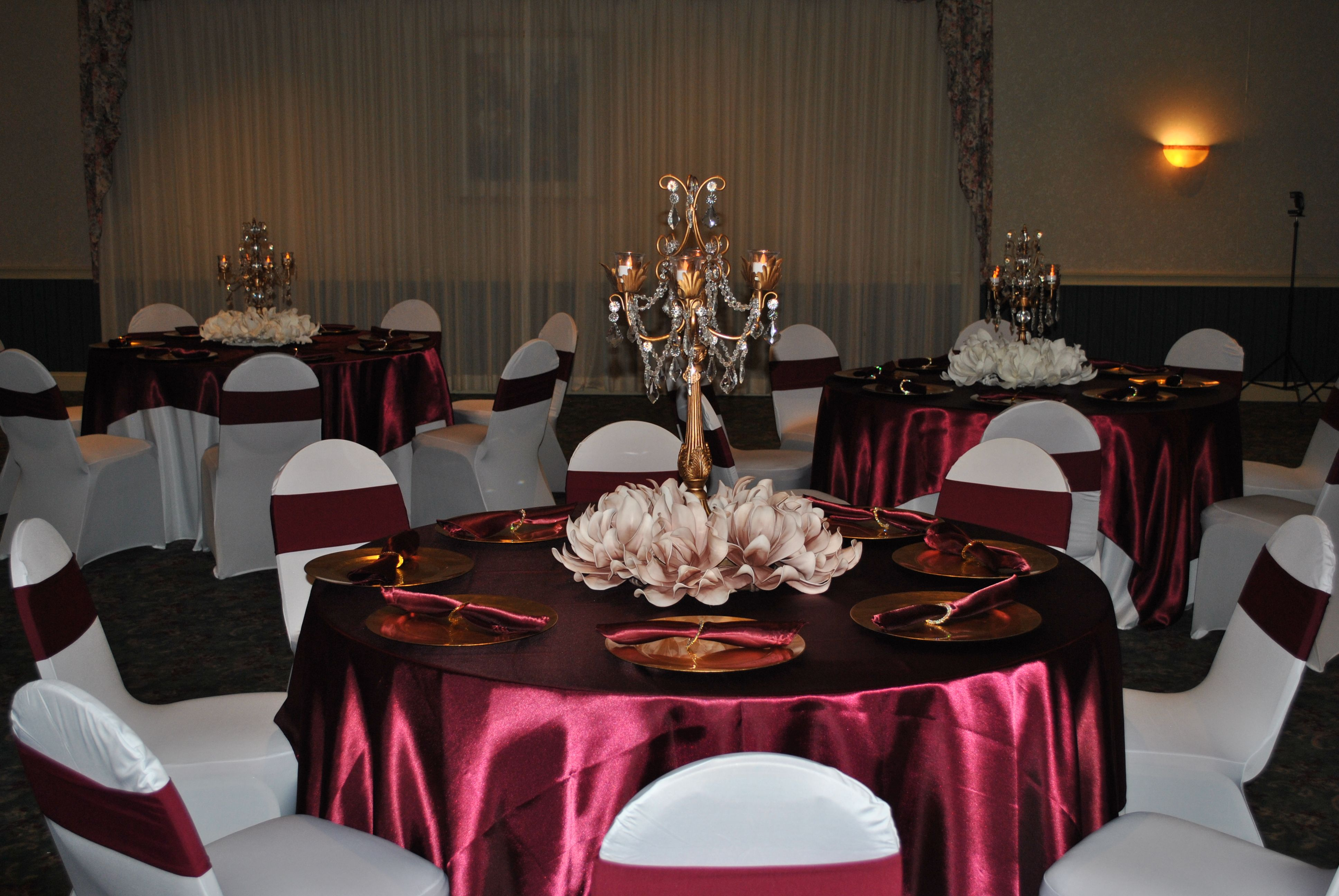 Sweet 16 Marsala/Burgundy and Champagne Table Decor with Gold Candelabra and Floral Blush Centerpieces