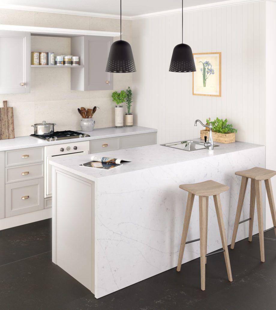 Best Silestone Eternal Statuario Small House Kitchen Design 400 x 300