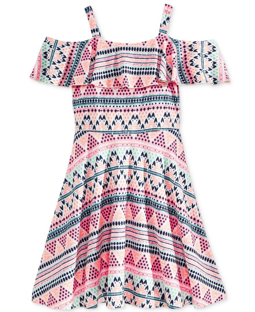 Epic Threads Graphic-Print Off-The-Shoulder Dress, Big Girls (7-16), Only at Macy's