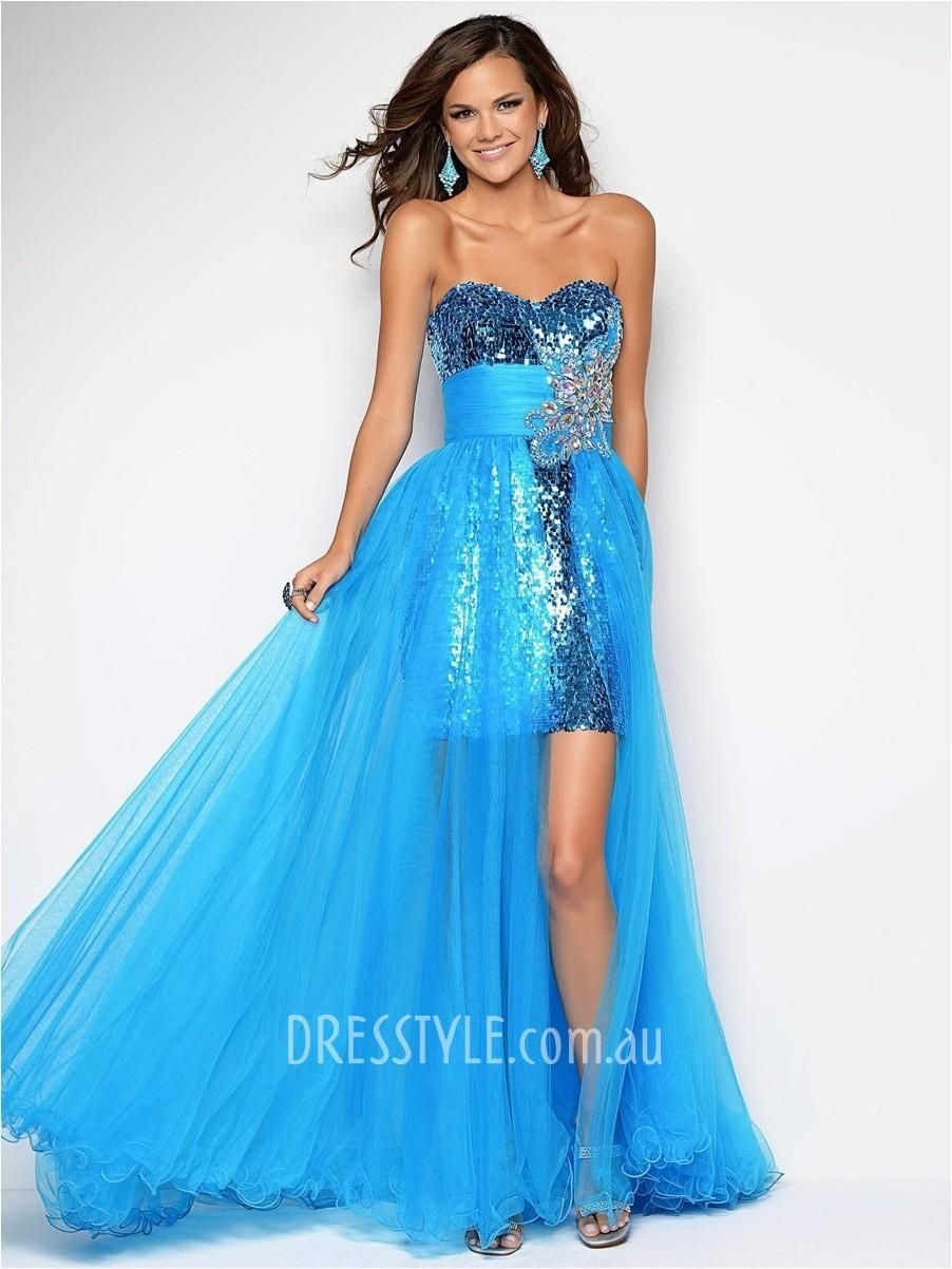 blue sequin high-low strapless sweetheart empire a-line floor length ...