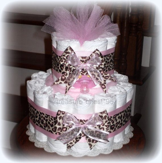 Animal Print Diaper Cake Baby Girl Baby Shower Giraffe Pink Brown