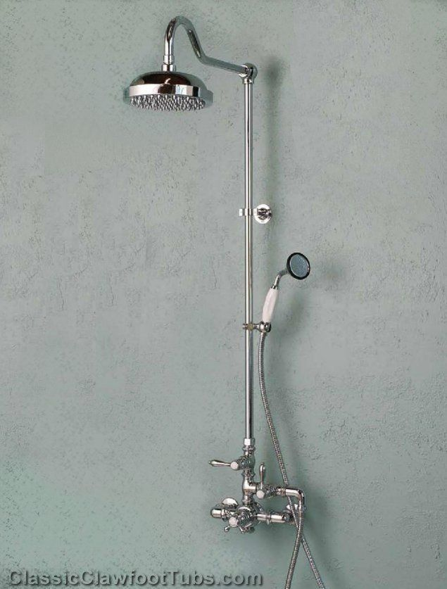Exposed Wall Mount Thermostatic Shower W Rain Head Handheld