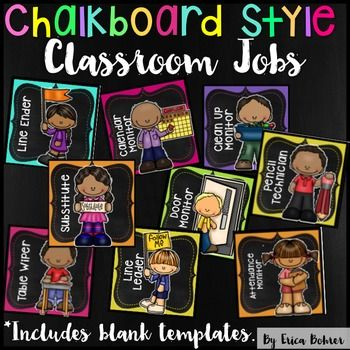 Bright Chalkboard Classroom JobsThis download is for every classroom job imaginable!  I personally like to give each student in my classroom a job.  Kids love to feel important and to help their teacher. Therefore, I have included more jobs than you will need in this packet.