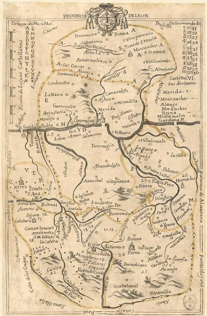 Mapa de la provincia de León (España), siglo XVII   Mapas antiguos ...
