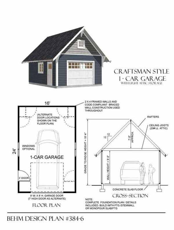 Craftsman style 1 car garage plan no 384 6 by behm design for Craftsman style garage lights