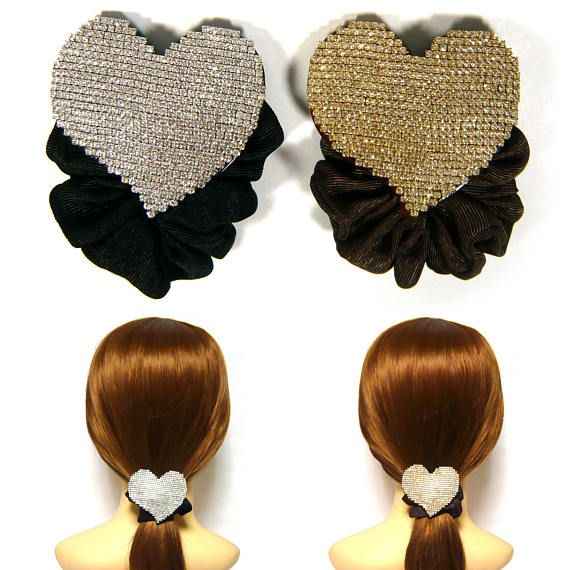 Swarovski Crystal Rhinestone Big Large Heart Fabric Elastic Hair Jewelry  Scrunchie Tie Band Ponytail e0f82e10f05