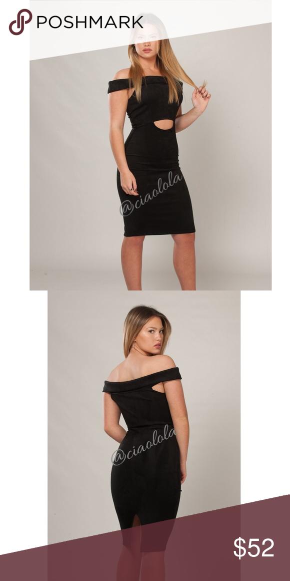 9c91dfec4d38 Melina black suede midi dress Short off the shoulder cut out detail suede bodycon  dress. Country  USA 📌NO TRADES Dresses Midi