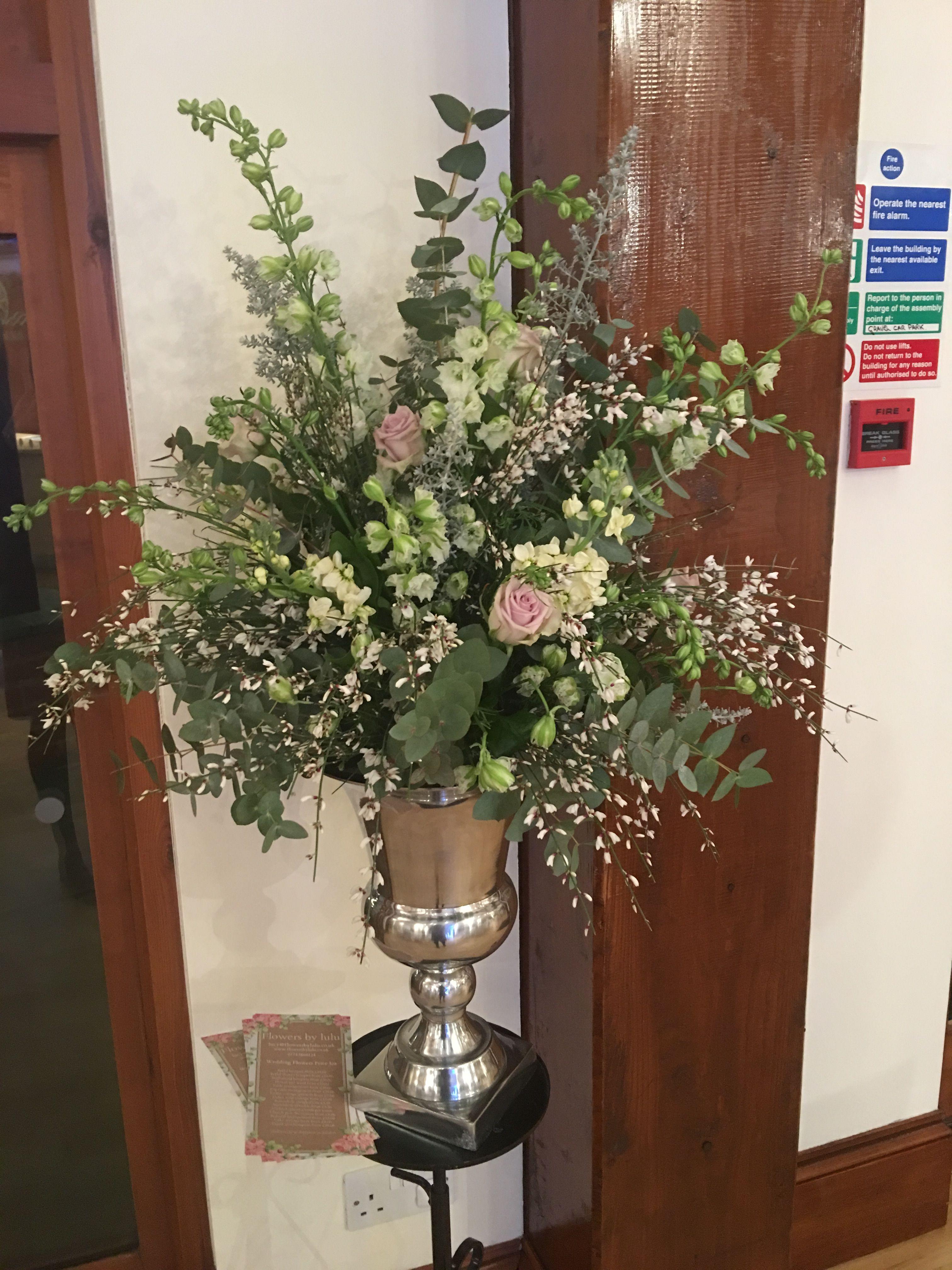 Wedding Urn Pedestal Arrangement In Soft Pinks Whites Flowers By
