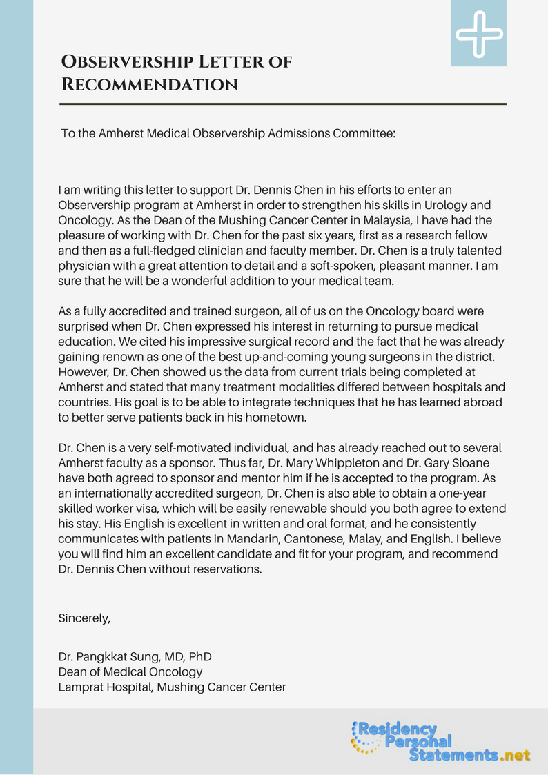 Observership Letter Of Recommendation Sample Which Will Give You