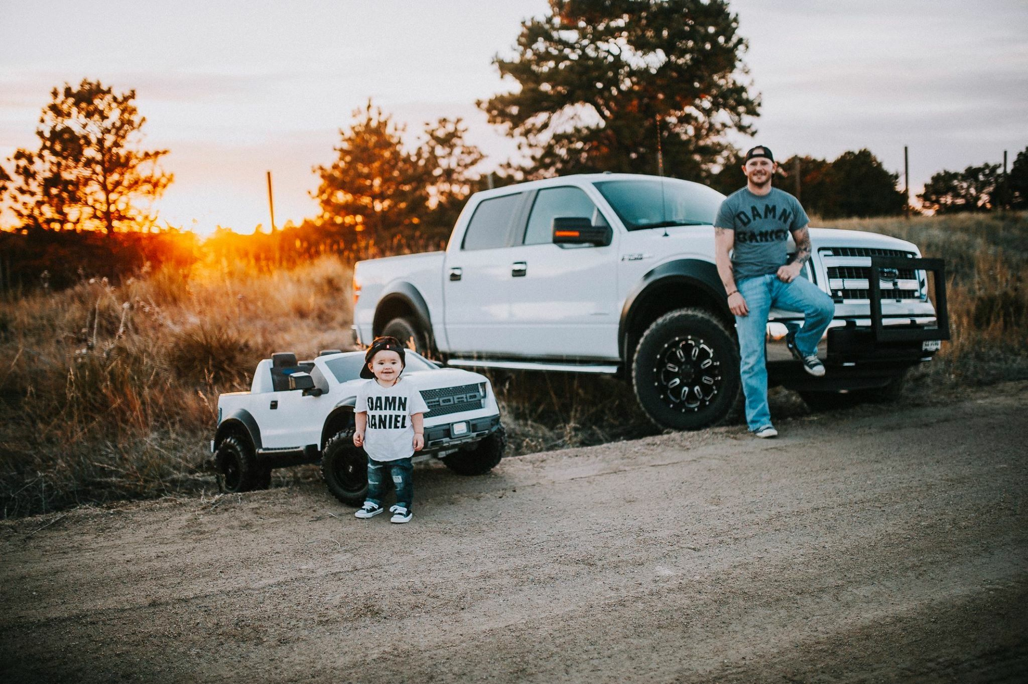 Father And Son Photo Shoot With Matching Ford F 150 Trucks