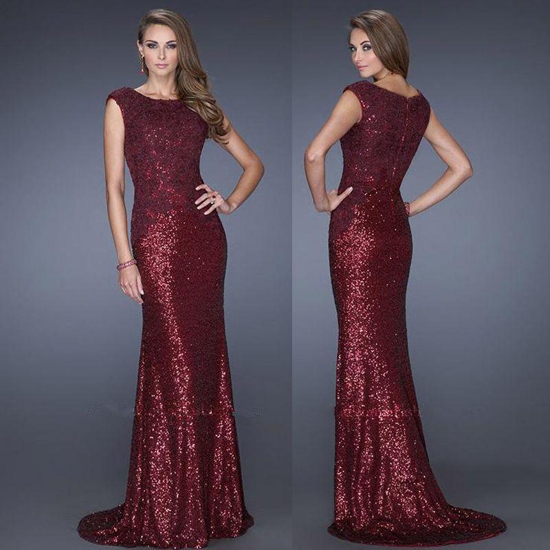 Marsala sequin dress elegant scoop cap sleeve lace for Long sleeve sequin wedding dress