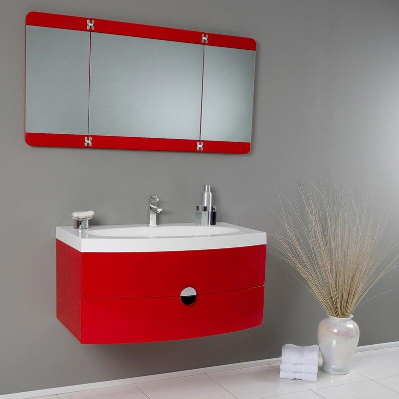 "Energia 36"" Modern Bathroom Vanity w/ Three Panel Folding ..."