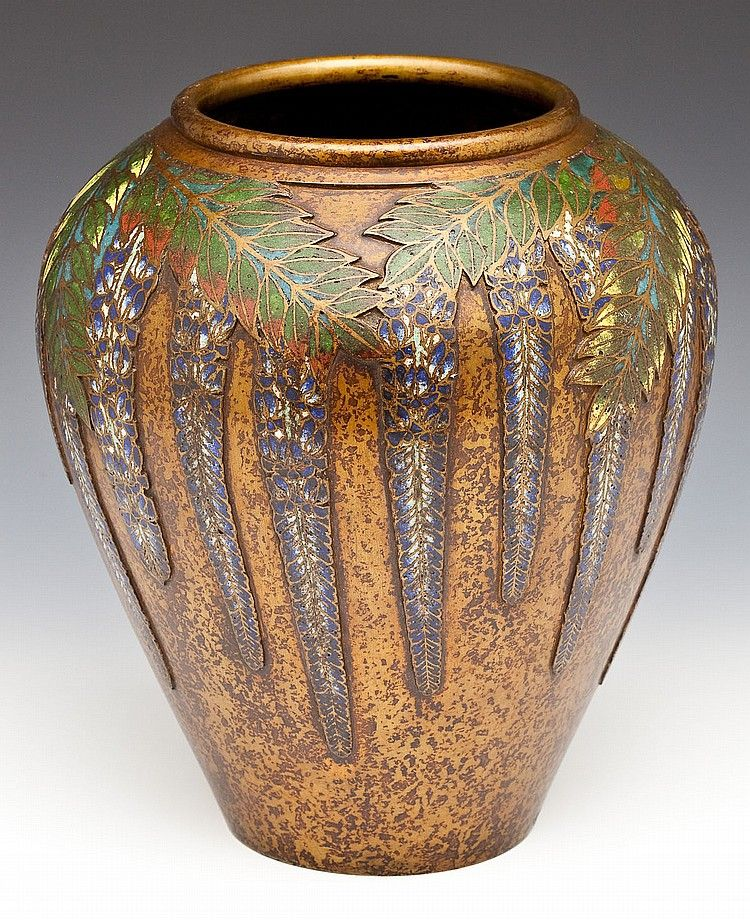 Japanese Bronze And Champleve Vase With Motif Of Wisteria And Leaves