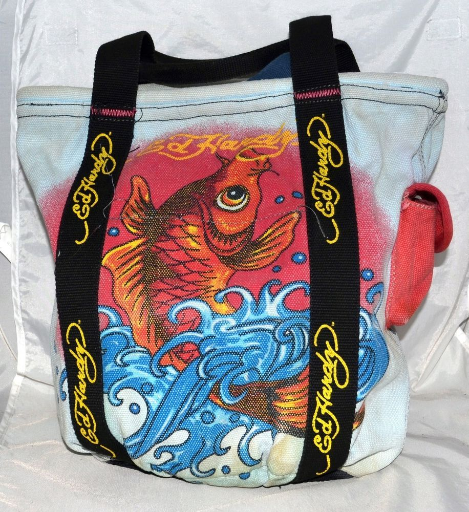 Ed hardy christian audigier orange koi fish on pale blue for Koi fish purse