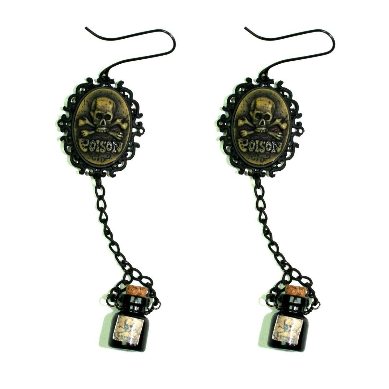 Too Fast Clothing Too Fast Poison Bottle Skull Cameo Gothic Earrings : Too Fast
