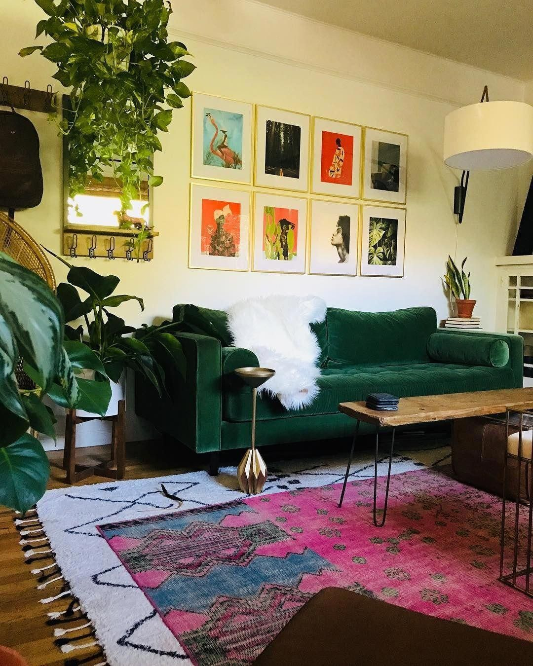 73 Eclectic Living Room Decor Ideas: Sven Grass Green Sofa In 2020