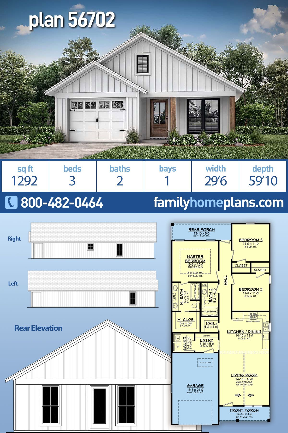 Traditional Style House Plan 56702 With 3 Bed 2 Bath 1 Car Garage Narrow House Plans Family House Plans House Plans Farmhouse