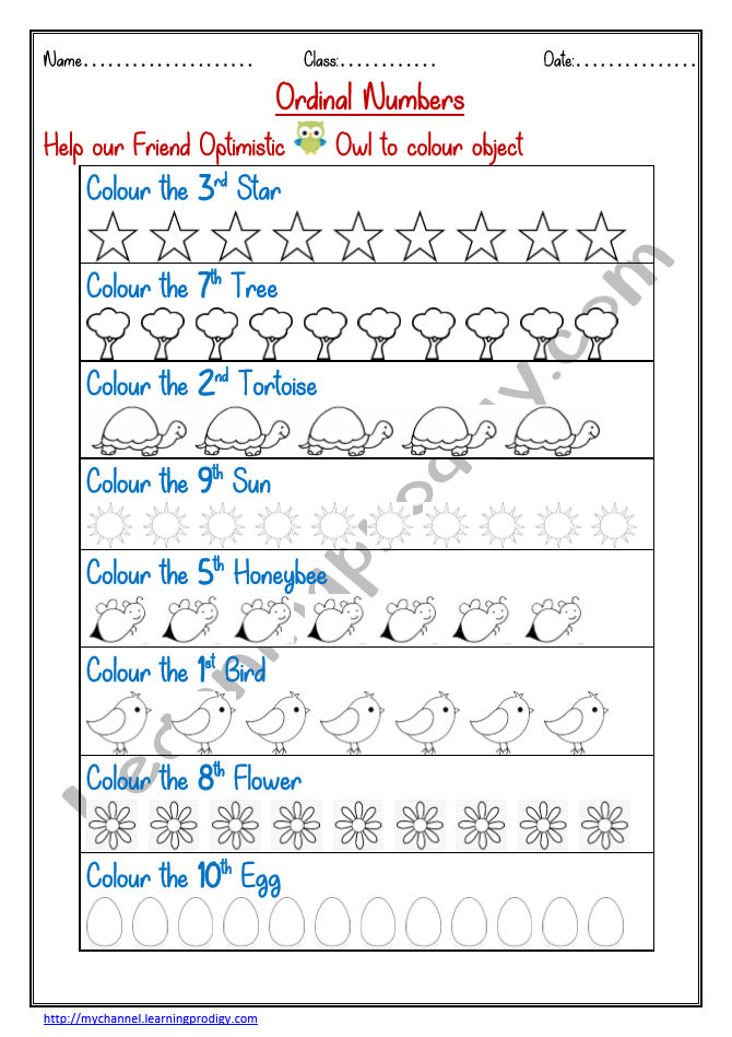 Ordinal Number Worksheet for Grade 1 Class in 2020 1st