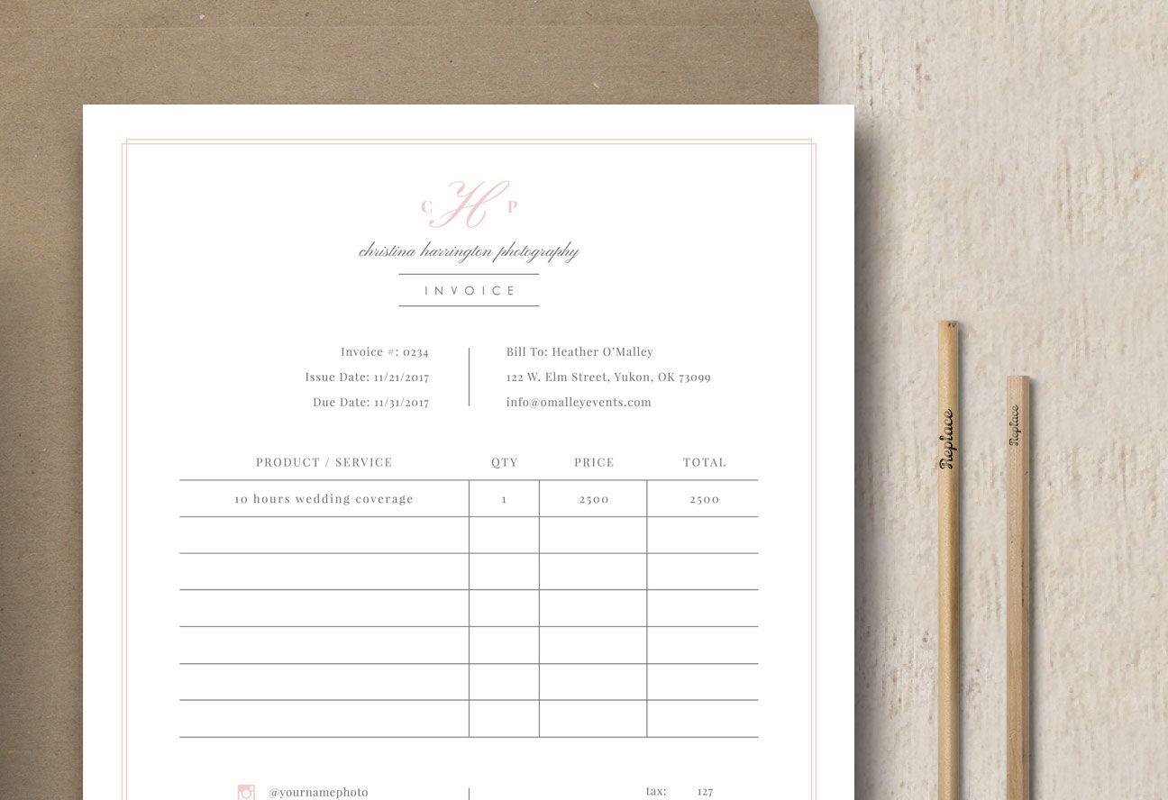 Photography Studio Invoice Template Eucalyptus Invoice Template Invoice Design Templates