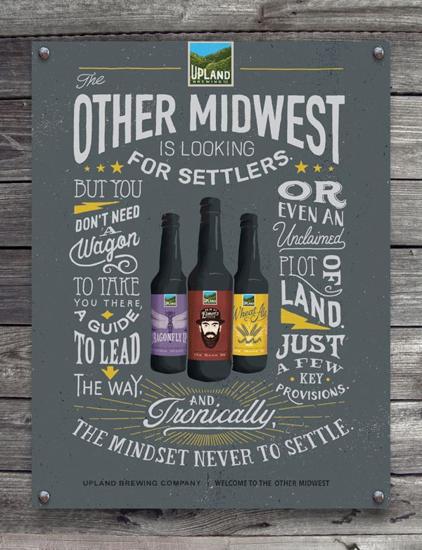 #Hipster #typographic #adv #poster | Upland Brewing Co. by BMD ..., via Behance