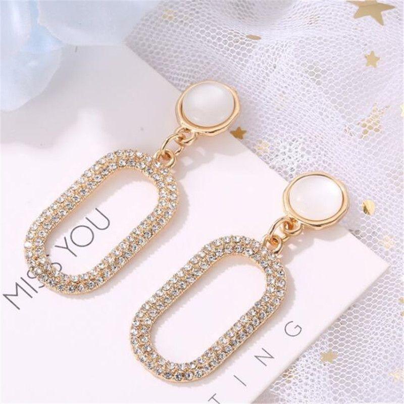 Big Size Opal Dangle Earrings Jewelry Geometric Golden Earrings Metal Pendant Earrings Gift Smooth Long Earrings Metal Color A  Big size opal dangle earrings jewelry geom...