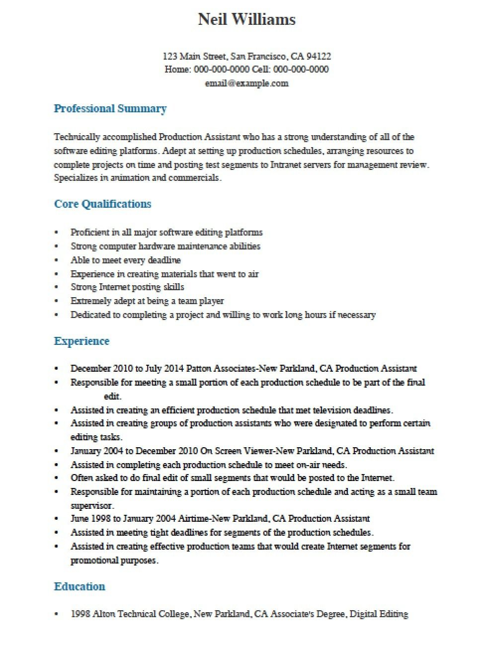Top 20 Production assistant Resume Resume template