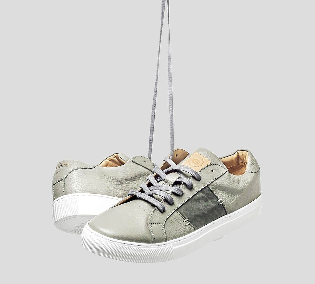 The Royale shoe in grey/white from Greats, a new inexpensive luxury shoemaker out of Brooklyn.