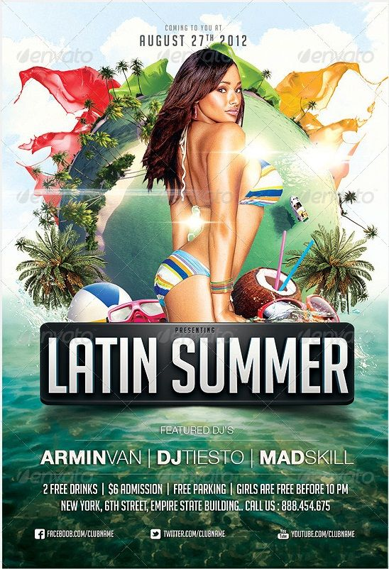 Cool Latin/Caribbean Beach Party Flyer Template, Realistic Look