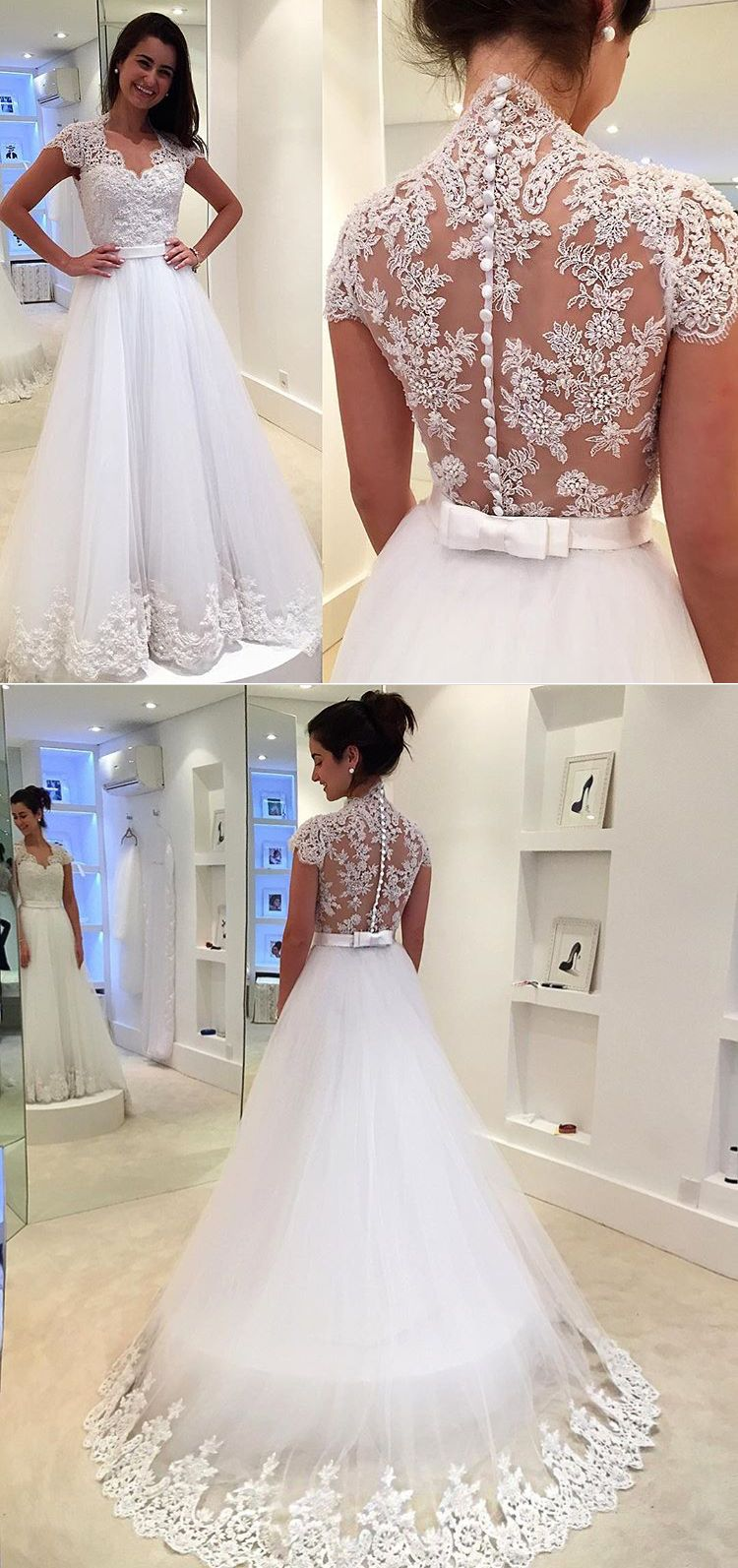 6acb516052 Gorgeous Cap Sleeves Lace Tulle White Prom Dress Gorgeous Wedding Gown  Elegant Bridal Gown  dress  gown  wedding  prom  prom2018  promdress   promgown  white ...