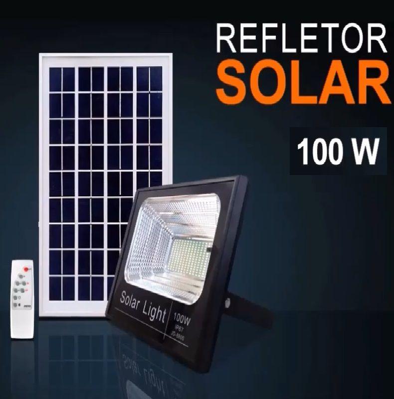 Luminaria Refletor Grande Led Com Placa Solar Fotovoltaica 100w
