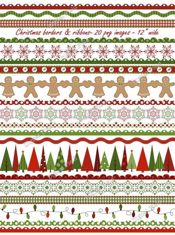 Christmas borders and ribbons clip art set-red green holiday