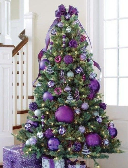 purple christmas tree theme - Purple And Silver Christmas Tree Decorations