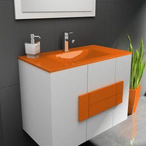 Muebles De Bano Naranja.Mueble De Bano Suspendido Modelo Albacete 80 Cm Jrsik Fontaneria