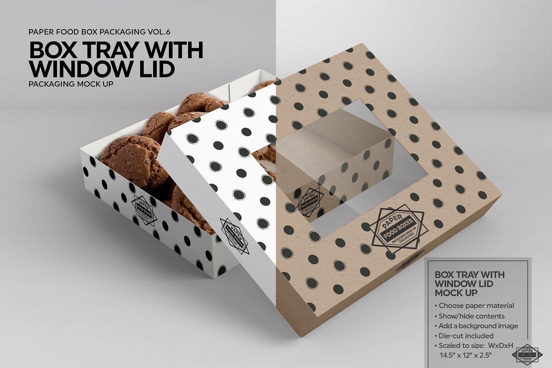 Download Box Tray Window Lid Packaging Mockup Food Box Packaging Packaging Mockup Recipe Box